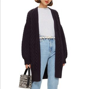 TOPSHOP Open Front Cardigan Cable Knit Navy Blue